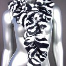 LUXURIOUS Black White Zebra Pattern Faux Fur Ruffles Elastic Wrap Scarf LG