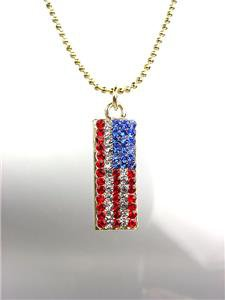 GOLD Red White Blue Swarovski Crystals Patriotic USA American Flag Necklace 1135