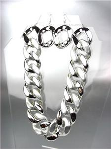 Stylish CHUNKY Silver Metallic Frosted Acrylic Chain Chains Necklace Set