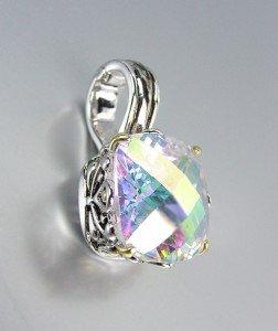Designer Style Silver Gold Balinese Filigree Iridescent AB CZ Crystal Pendant