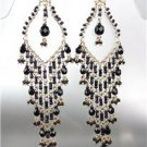 STUNNING Black Onyx Crystal Beads Gold Chandelier Dangle Peruvian Earrings 12BK