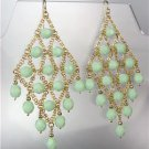 EXQUISITE Sherbert Green Aventurine Gemstone Gold Chandelier Peruvian Earrings