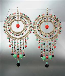 STUNNING Multicolor Crystal Beads Gold Chandelier Dangle Peruvian Earrings 88M
