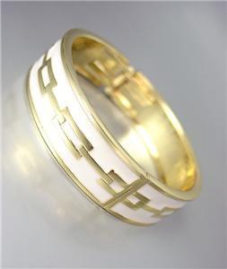 CLASSIC Designer Style Gold White Lacquer Enamel Chain Hinged Bangle Bracelet