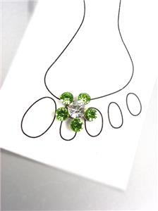 SPARKLE Green Austrian Crystals Flower Invisible Illusion Toe Ring