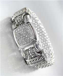 CLASSIC Designer Style Silver Mesh Pave CZ Crystals Magnetic Clasp Bracelet