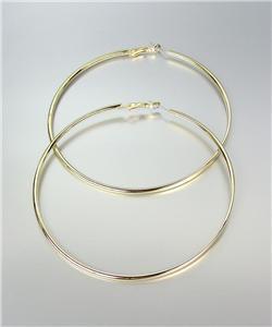 "CHIC GOLD Metal Flat Front Round Large 3 3/8"" Diameter Hoop Post Earrings"