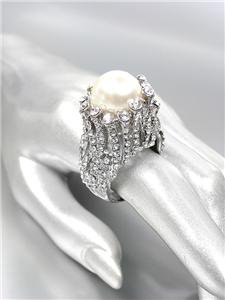 STUNNINGLY UNIQUE Chunky Creme Pearl CZ Crystals Silver Cocktail Ring