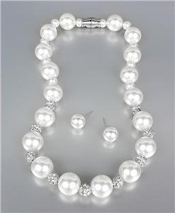 ELEGANT White Pearls Pave CZ Crystals Balls Necklace Earrings Set Bridal