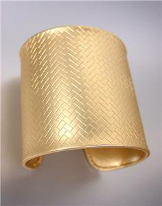 CHIC Urban Anthropologie Mat Gold Weave Texture Metal Wide Cuff Bracelet