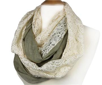 ELEGANT Taupe Gray Linen Feel Creme Brocade Lace INFINITY Wrap Scarf