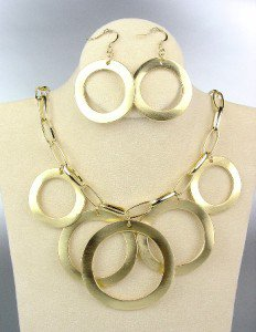 CLASSIC Gold Satin Metal Rings Chain Drape Necklace Earrings Set
