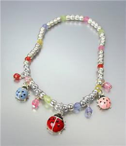 ADORABLE Multi Enamel Acrylic Crystals Ladybugs Lady Bug Charms Stretch Anklet