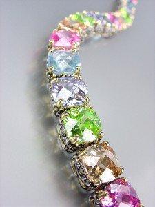 Designer Style Silver Gold Balinese Light Multicolor CZ Crystals Links Bracelet