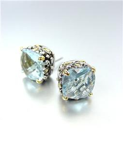 Designer PETITE Silver Gold Balinese Filigree Aqua Blue CZ Crystal Earrings