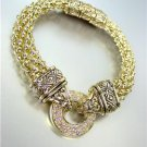 CLASSIC Gold CZ Crystals Ring Balinese Filigree Mesh Magnetic Clasp Bracelet
