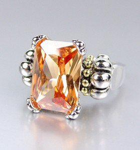 CLASSIC Silver Emerald-cut Champagne Brown Topaz CZ Crystal Glacier Ring