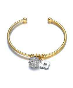 Designer Style Pave CZ Crystals Eternity Ball Clover Charms Gold Cuff Bracelet