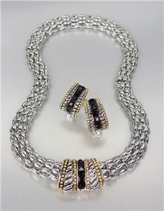 Designer Style Silver Cable Gold Black Onyx CZ Crystals Barrel Mesh Necklace Set