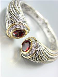 STUNNING Chunky Red Garnet Crystals Tips Silver Cable Gold Hinged Cuff Bracelet