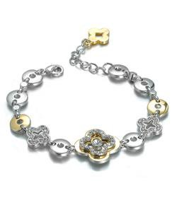 NEW Designer Style Silver Gold Clover Clovers CZ Crystals Links Bracelet