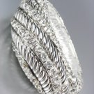 Designer Style Chunky Silver Cables CZ Crystals Stretch Bangle Bracelet
