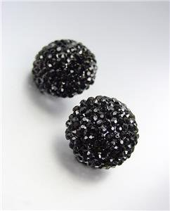 EXQUISITE Black Pave CZ Crystals Button Stud Earrings Prom Pageant Bridal