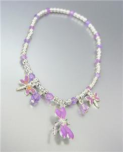 ADORABLE Lavender Enamel Dragonfly Charms Acrylic Crystals Silver Stretch Anklet