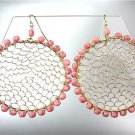 CHIC Pink Tourmaline Crystals Gold Honeycomb Mesh Chandelier Peruvian Earrings