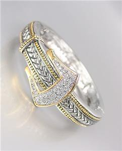 NEW Designer Balinese Silver Wheat Gold Crystals Buckle Hinged Bangle Bracelet