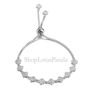 EXQUISITE 18kt White Gold Plated CZ Crystals Clover Clovers Links Chain Bracelet