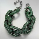 STUNNING Chunky Designer Emerald Green CZ Crystals Encrusted Chain Bracelet