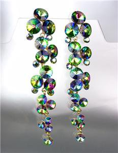 STUNNING Vitrail Czech Czech Crystals WATERFALL Earrings Queen Pageant Bride