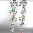 STUNNING Clear Iridescent AB Czech Crystals WATERFALL Long Dangle Earrings