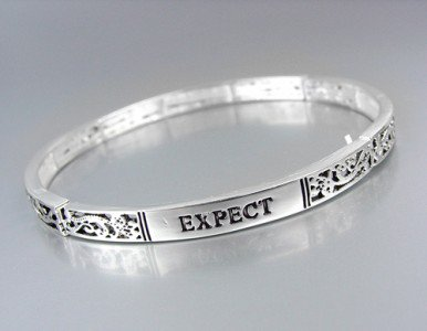 Inspirational Message EXPECT MIRACLES Silver Stretch Stackable Bracelet