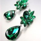 STUNNING Emerald Green Czech Crystals Drop Dangle Earrings Prom Pageant Bridal