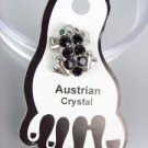ADORABLE Black Austrian Crystals FROG Invisible PETITE Toe Ring