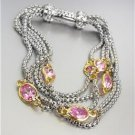 GORGEOUS Silver Box Chain Cables Pink CZ Crystals Magnetic Clasp Bracelet