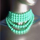 CHIC Graduated 6 Strands Turquoise Blue Beads Choker Necklace Earrings Set