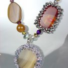 GORGEOUS Brown Gray Marble Agate Chalcedony Crystals Necklace Earrings Set