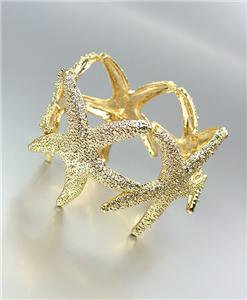 GORGEOUS & STYLISH Chunky Gold Textured Metal STARFISH Links Stretch Bracelet