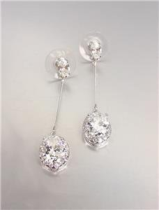 EXQUISITE & STUNNING 18kt White Gold Plated CZ Crystals Drop Dangle Earrings
