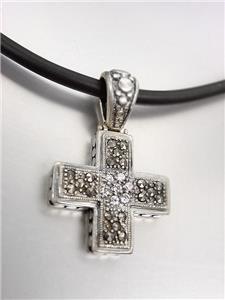 Designer Sterling Silver Marcasite Crystals Kali Maltese Cross Pendant Necklace