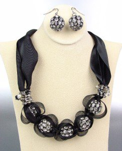 SPARKLE Black Satin Antique Rhinestone Balls Crystals Tulle Necklace Set