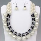 Chunky Creme Pearls Black Crystals Drape Necklace Earrings Set Bridal