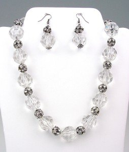 Bejeweled Clear Lucite Crystals Rhinestone Balls Necklace Earrings Set