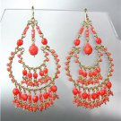 STUNNING Coral Red Crystal Beads Gold Chandelier Dangle Peruvian Earrings B27-2
