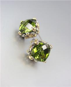 Designer PETITE Silver Gold Balinese Filigree Olive Green CZ Crystal Earrings