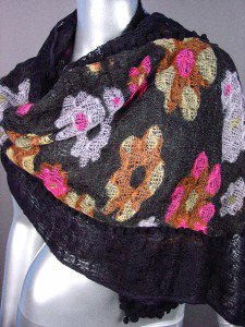 STYLISH Black Multicolor Floral Crochet Knit Weave Fashion Scarf