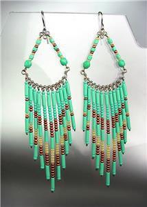 Turquoise Bronze Beads Bohemian Boho Gypsy Peruvian Chandelier Dangle Earrings